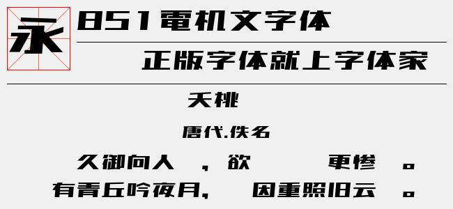 851电机文字体(TTF文件大小1.34 M)