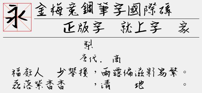 金梅宽钢笔字国际码(Regular)预览图