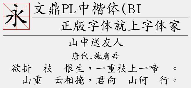 文鼎PL中楷体(BIG5)(Regular)预览图